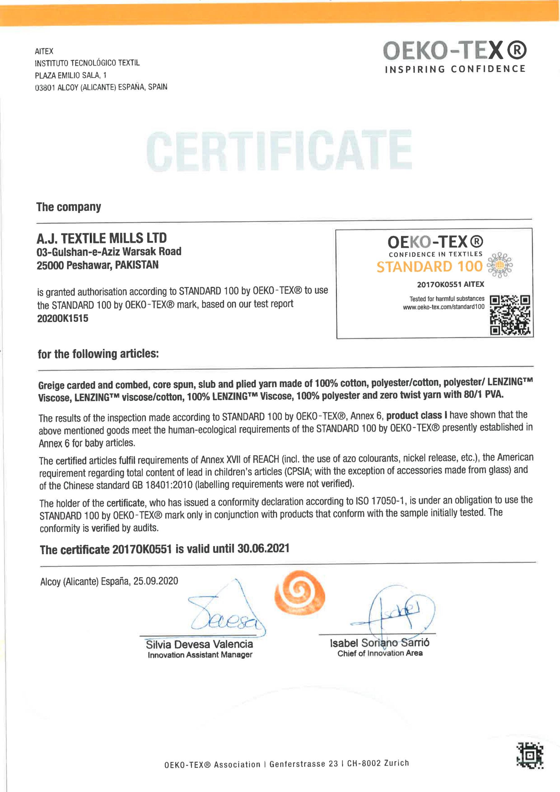 Oekotex 2021 A.J. TEXTILE MILLS LTD