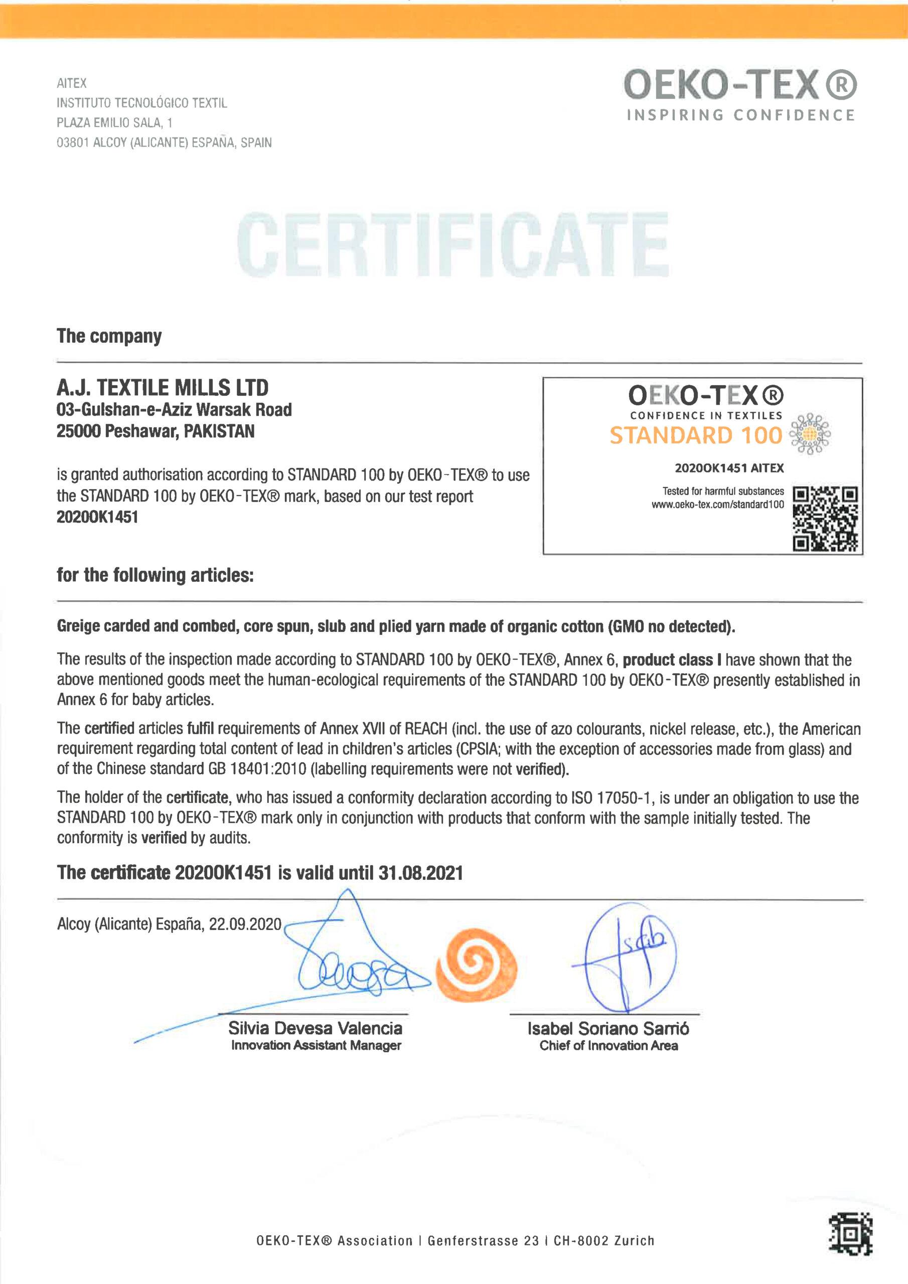 Oekotex Organic 2021 A J TEXTILE MILLS